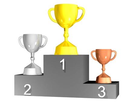 Three trophy cups on podium  Stock Photo