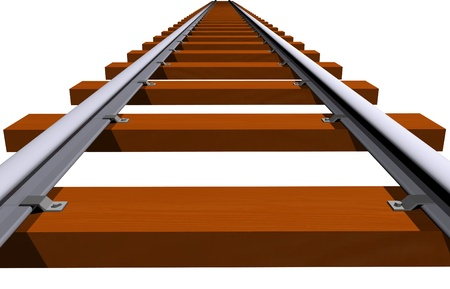 wood railroad: Railway track 3D closeup  Stock Photo