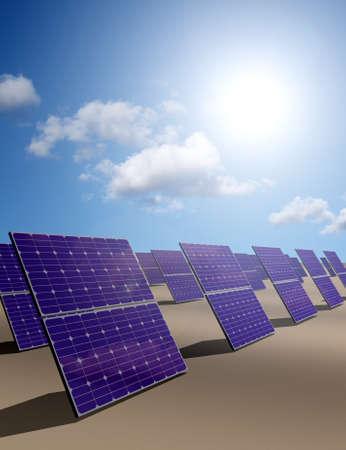 photons: Solar energy panels in desert