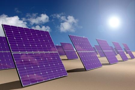 desert sun: Solar energy panels in desert