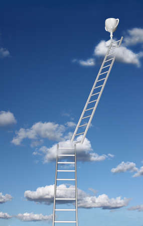 thrive: Ladders reaching trophy on a cloud  Stock Photo