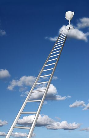 to strive: Ladders reaching trophy on a cloud  Stock Photo