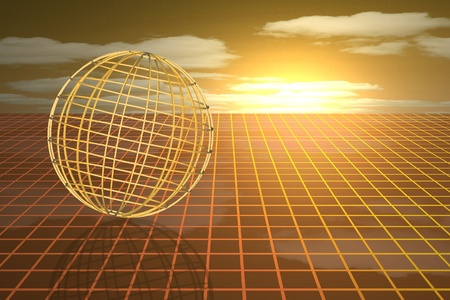 Futuristic sphere wireframe on a grid photo