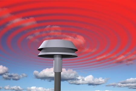 Warning signal from siren Stock Photo