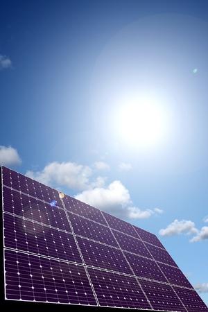 photons: Solar energy panel in sunlight  Stock Photo