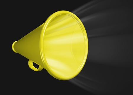 expostulate: Megaphone shouting Stock Photo