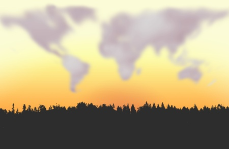 Night clouds forming world map figure Stock Photo