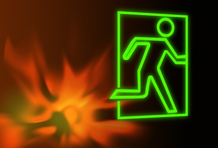wayout: Emergency exit symbol with flames Stock Photo