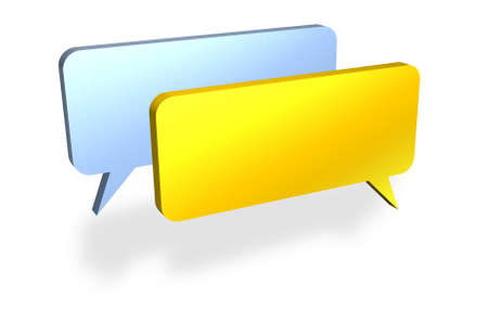 verbal: Blank speech bubbles discussing