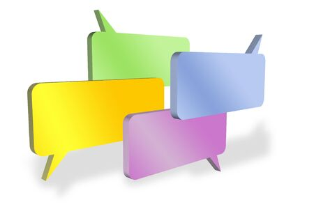 verbal: Four blank speech bubbles having discussion
