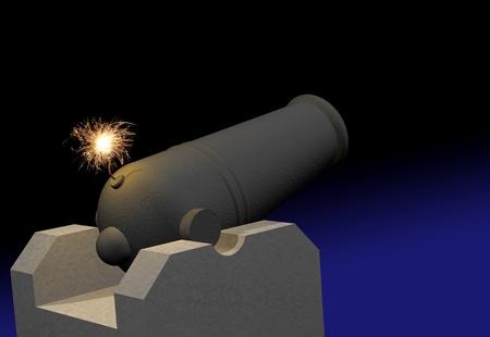 enemy: Cannon with burning fuse Stock Photo