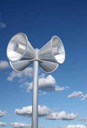expostulate: Chromed loudspeakers with sky background