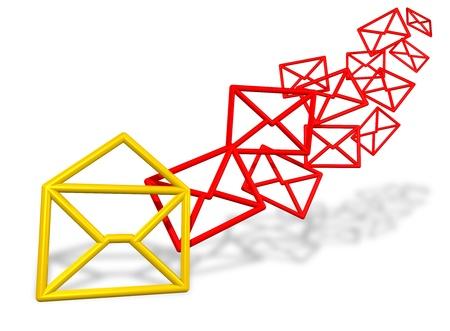 sent: E-mail envelope symbols flowing