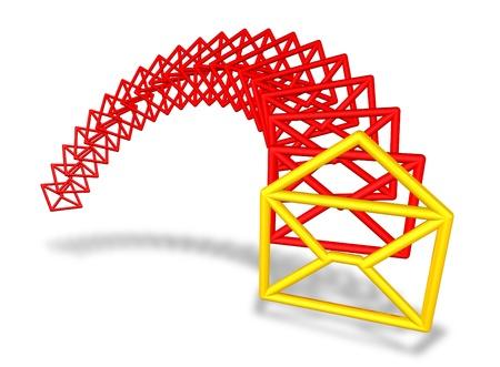 transmit: E-mail envelope symbols flowing
