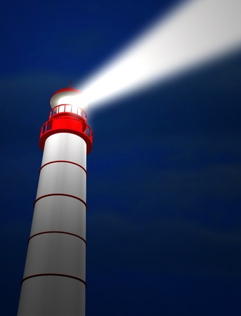 Lighthouse by night Stock Photo