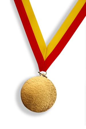 Gold medal with red and yellow ribbon photo