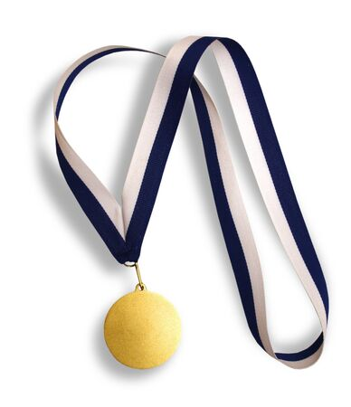 Gold medal with ribbon photo