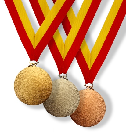 acknowledgement: Three medals; gold, silver and bronze