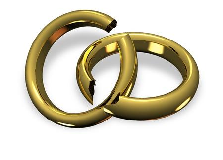 Broken wedding rings in divorce