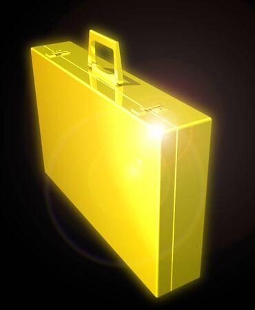 Golden briefcase Stock Photo