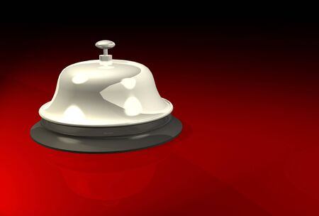 clang: Vintage service bell on polished surface Stock Photo