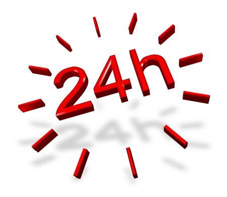 twenty four hours: 24 hours around the clock symbol on white
