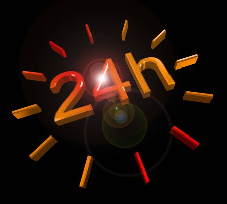 24 hours around the clock symbol with lens flare Stock Photo