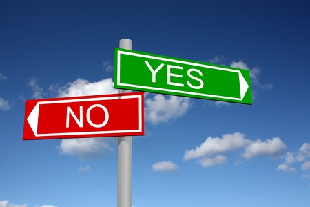 Signpost for yes and no with sky background Stock Photo