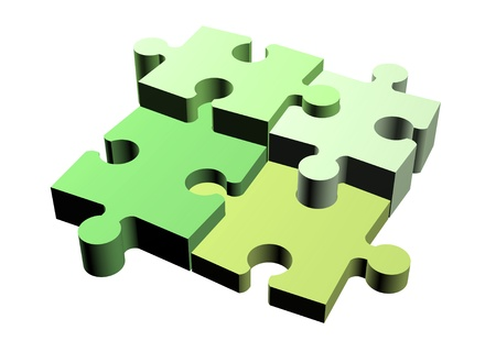 Jigsaw puzzle pieces of different height attached