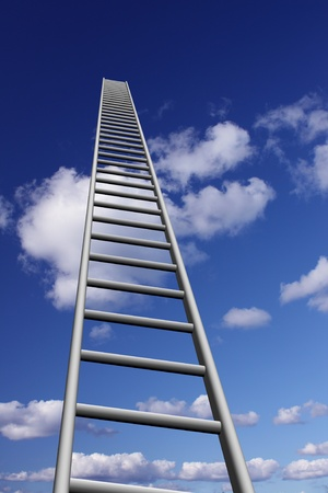 Ladders to skyhigh success Stock Photo