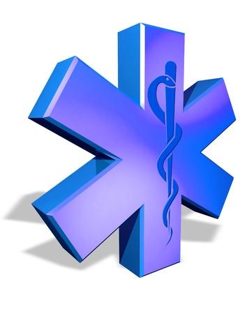 Medical cross symbol with Caduceus snake Stock Photo