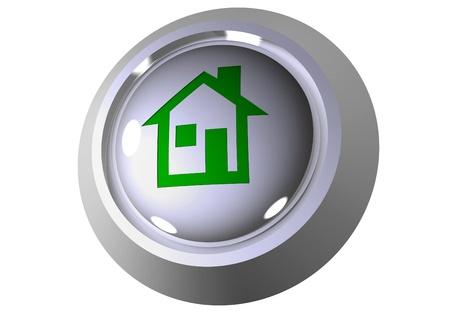 3D home button Stock Photo