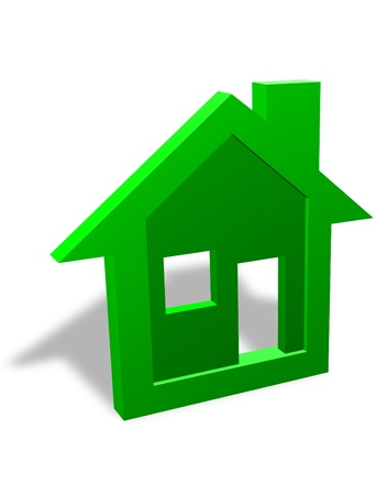 3D house symbol for home