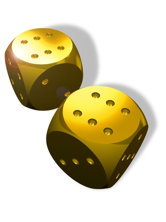 Two golden dice and winner