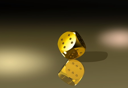definite: Golden dice with six dots every side