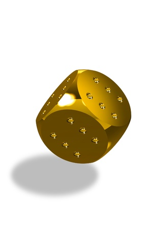 Golden dice with six dots every side