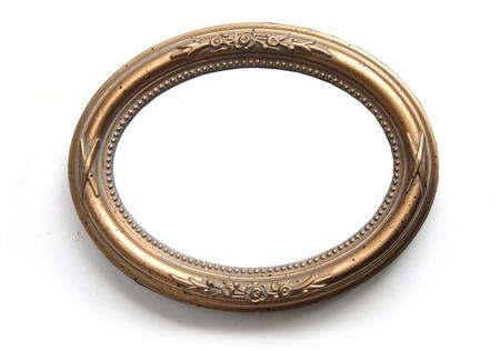 Oval photo frame isolated on white  Stock Photo