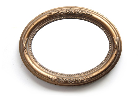 circular frame: Oval photo frame isolated on white  Stock Photo