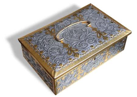 Decorated metallic treasury box Stock Photo