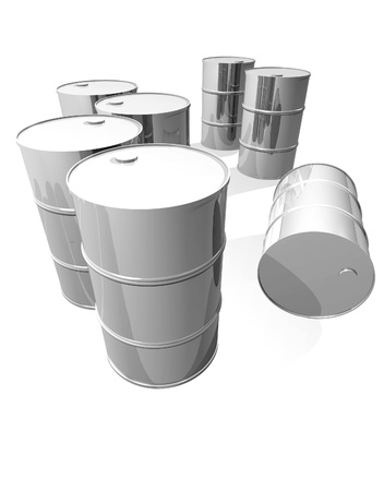 oilwell: Clean metal drums isolated on white Stock Photo