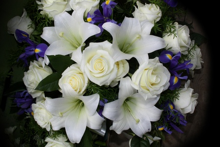 Funeral flowers for condolences Stock Photo