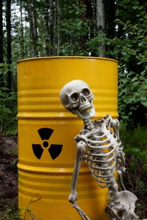 Radioactive waste and skeleton in forest
