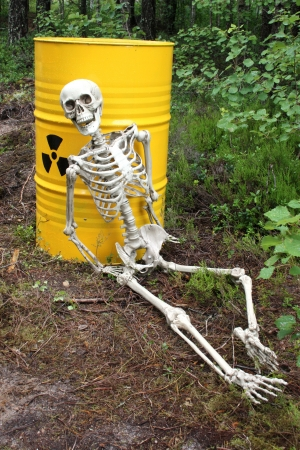 Radioactive waste and skeleton in forest Stock Photo - 16533640