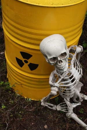 Radioactive waste and skeleton  photo