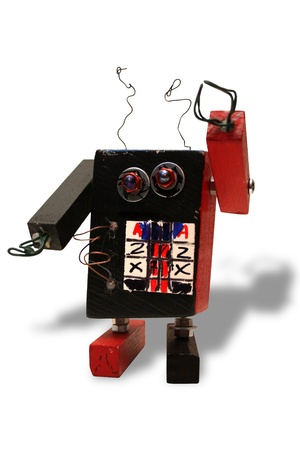Hand made toy robot Stock Photo