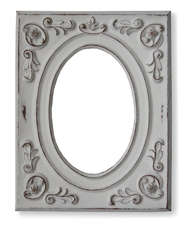 White wooden frame for oval photo