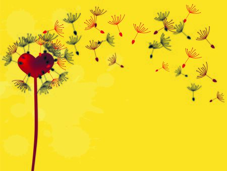 abstrakt: Vector illustration red heart dandelion with flying seeds
