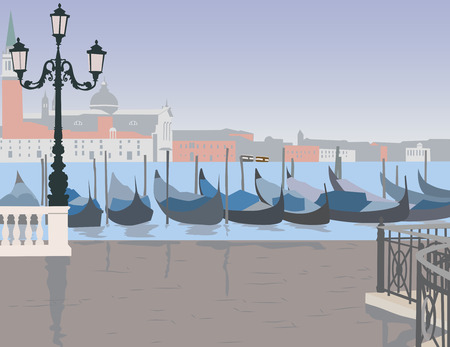 canal: Venice after the rain, the Grand canal with gondolas Illustration
