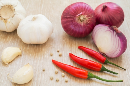 Red chili peppers, garlic and red onion photo