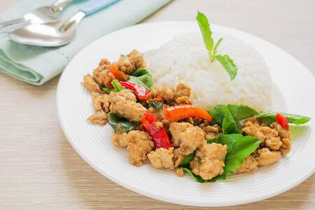 thai basil: Basil fried rice with pork, Thai food Stock Photo
